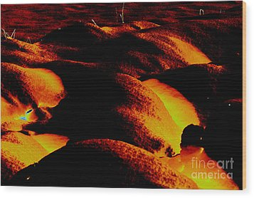 Snow On Fire Wood Print by Carol Lynch