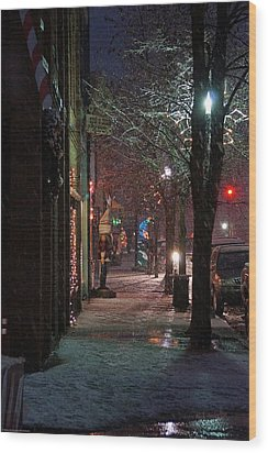 Snow On G Street 2 - Old Town Grants Pass Wood Print by Mick Anderson