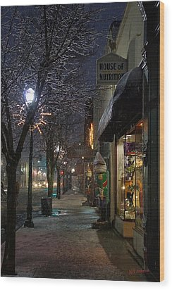 Snow On G Street 3 - Old Town Grants Pass Wood Print by Mick Anderson