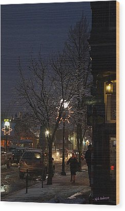 Snow On G Street 4 - Old Town Grants Pass Wood Print by Mick Anderson