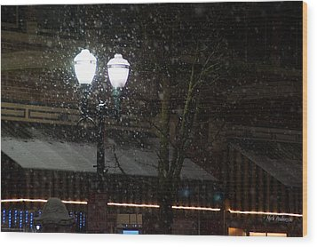Snow On G Street In Grants Pass - Christmas Wood Print by Mick Anderson