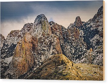 Wood Print featuring the photograph Snow On Peaks 45 by Mark Myhaver