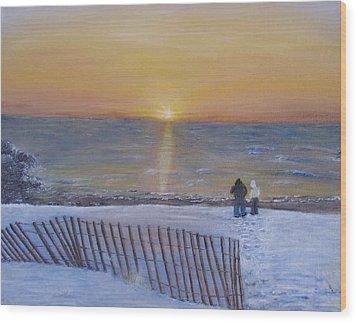 Snow On The Beach Wood Print