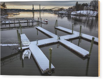 Snow On The Docks Wood Print by Eric Gendron