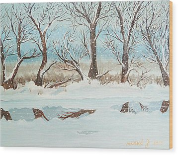 Snow On The Ema River 2 Wood Print
