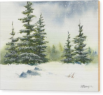 Snow On The Pines  Wood Print