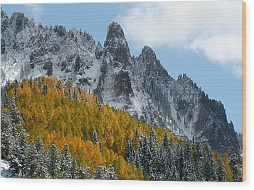 Snow On The San Juan Mountains In Autumn Wood Print by Jetson Nguyen