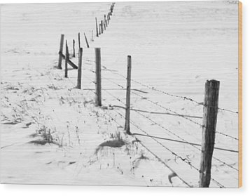 Snow Packed Fence Line Wood Print