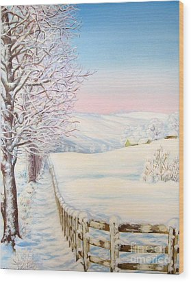 Wood Print featuring the painting Snow Path by Inese Poga