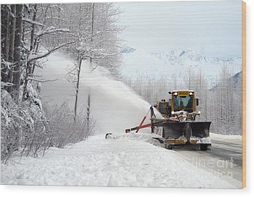 Snow Plow Wood Print by Mark Newman