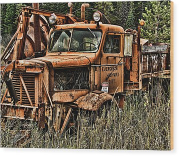 Snow Plow Wood Print by Ron Roberts