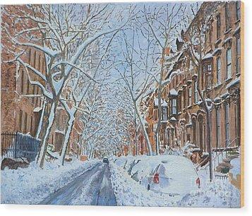 Snow Remsen St. Brooklyn New York Wood Print by Anthony Butera