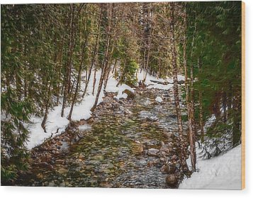 Snow River Wood Print