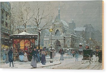Snow Scene In Paris Wood Print by Eugene Galien-Laloue