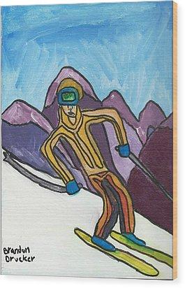 Snow Skier Wood Print