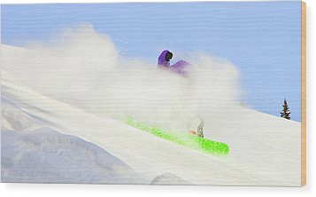 Snow Spray Wood Print by Theresa Tahara