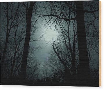 Snow Storm Sunset Wood Print by Sharon Costa
