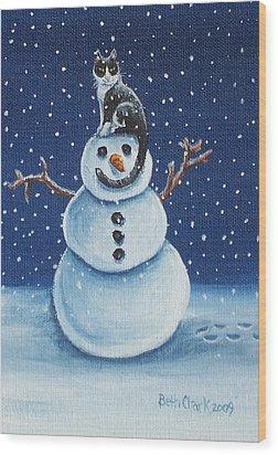 Snow Stormie Wood Print by Beth Clark-McDonal
