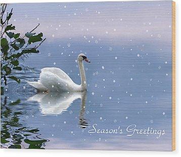 Snow Swan  Wood Print