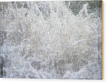 Snow Textures Wood Print by Suzanne Powers