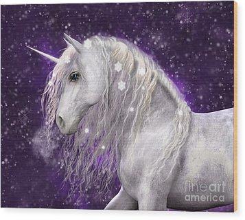 Snow Unicorn With Purple Background Wood Print