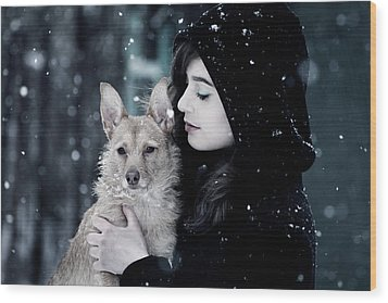 Snow Walk Wood Print by Cambion Art