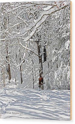 Snow Walking Wood Print