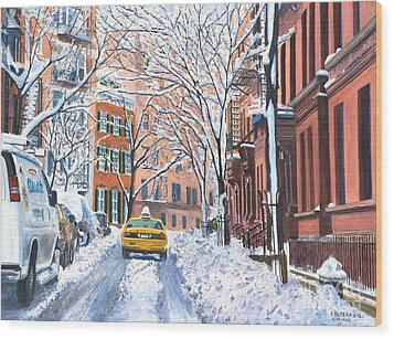 Snow West Village New York City Wood Print by Anthony Butera