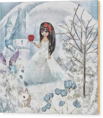 Snow White Wood Print by Mo T