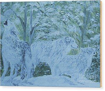 Snow Wolves Wood Print by Eloise Schneider