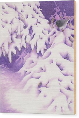 Snowbird Wood Print by Elizabeth Dobbs