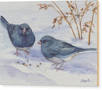 Snowbirds Wood Print by Janet  Zeh