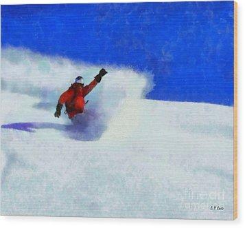 Snowboarding  Wood Print by Elizabeth Coats
