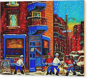 Snowday Hockey Practice Wilenskys Corner Fairmount And Clark Montreal City Scene Carole Spandau Wood Print by Carole Spandau