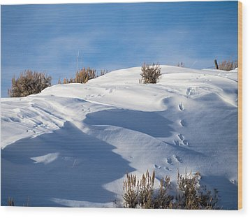 Snowdrifts Wood Print by Nadja Rider