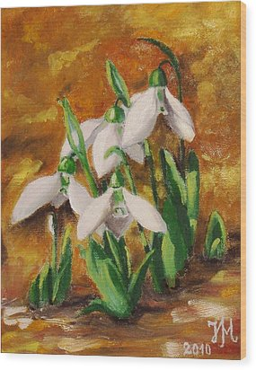 Wood Print featuring the painting Snowdrops by Nina Mitkova