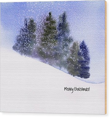 Wood Print featuring the painting Snowfall by Anne Duke