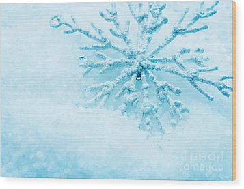 Snowflake In Snow Wood Print by Michal Bednarek
