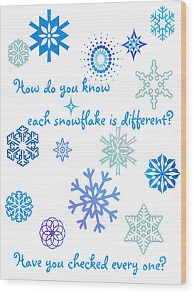 Snowflakes Wood Print by Methune Hively