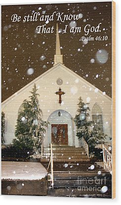 Snowing At The Chapel Wood Print by Kathy  White