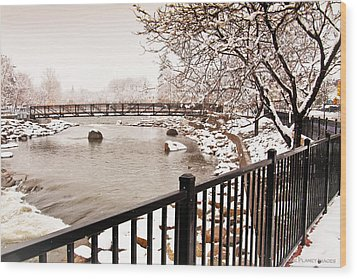 Wood Print featuring the photograph Snowing On The Truckee by Janis Knight