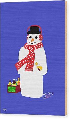 Wood Print featuring the digital art Snowman by Barbara Moignard