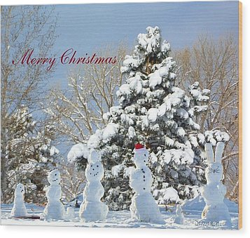 Snowman Family Greeting Card Wood Print