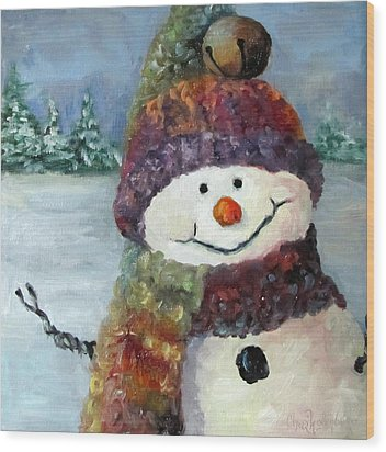 Wood Print featuring the painting Snowman I - Christmas Series I by Cheri Wollenberg