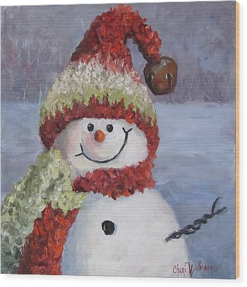 Wood Print featuring the painting Snowman II - Christmas Series by Cheri Wollenberg