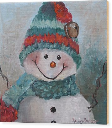 Wood Print featuring the painting Snowman IIi - Christmas Series by Cheri Wollenberg