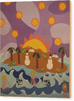 Wood Print featuring the painting Snowman Is An Island by Erika Chamberlin