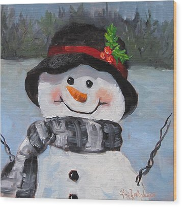 Wood Print featuring the painting Snowman Iv - Christmas Series by Cheri Wollenberg