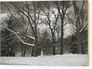 Snowman Wood Print by Madeline Ellis