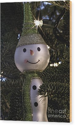 Snowman Ornament Wood Print by Birgit Tyrrell